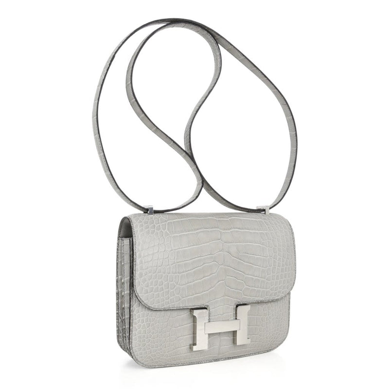 Hermes Constance Bag 18 Gris Perle Matte Alligator nwt - mightychic