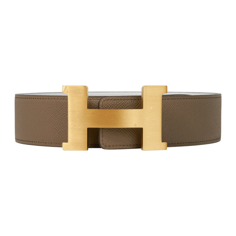 Hermes Belt Men's Constance Etoupe / White 42mm Brushed Gold Buckle 105 New