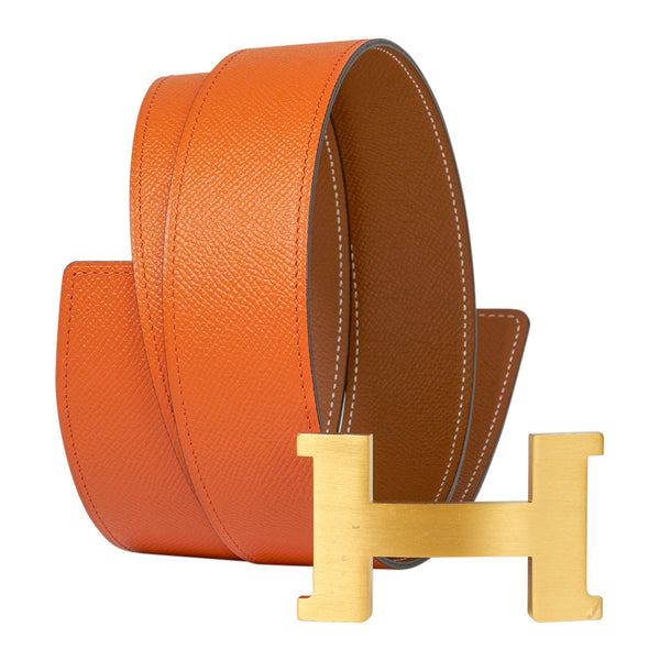 Hermes 42mm Constance Belt Orange / Gold Brushed Gold Buckle 100 New w/Box
