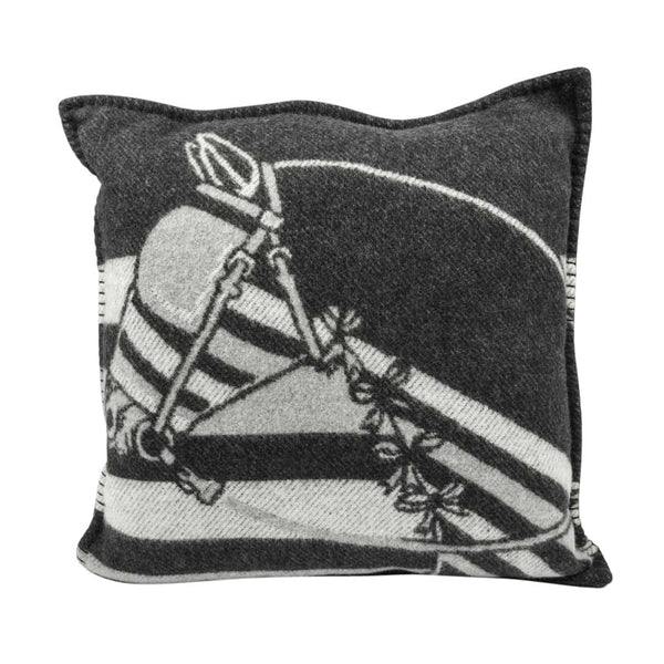 Hermes Pillow / Cushion Couvertures Ecru and Gris Fonce Throw Pillow