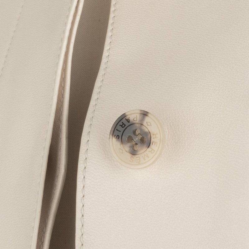 Hermes Jacket Cream Lambskin Leather Black Piping 36 / 4 - mightychic