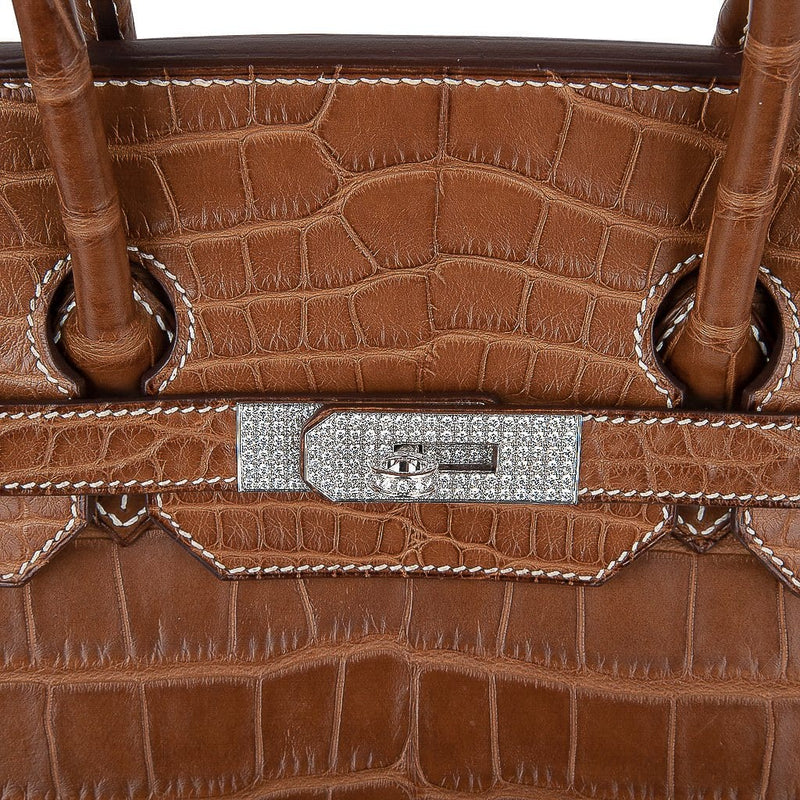 Hermes Diamond Birkin 35 Bag Fauve Barenia Matte Alligator Rare