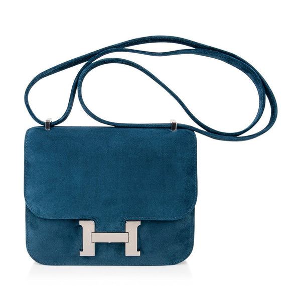 Hermes Constance Bag 18 Blue Ocean Doblis Palladium Limited Edition