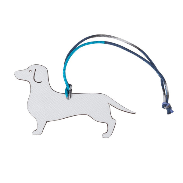 Hermes Petit h Dog Bi-Color Bag Charm Dachshund White / Etoupe - mightychic