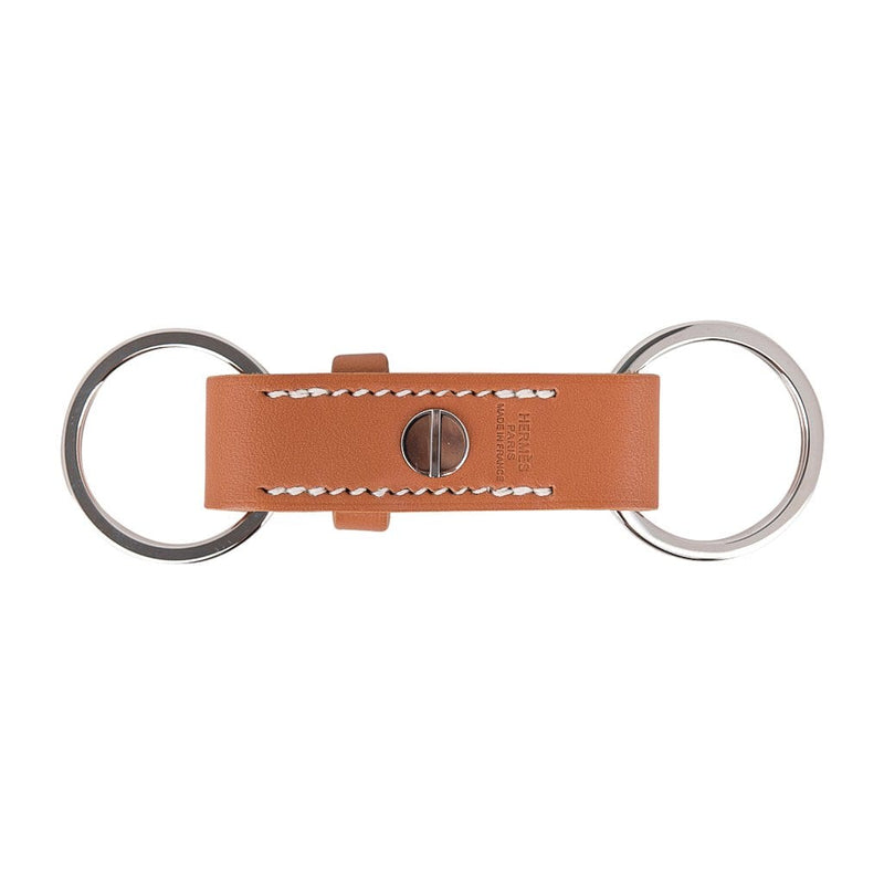Hermes Double Jeu Voiturier Valet Key Ring Gold Palladium New / Box
