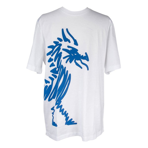 Hermes Men's T-Shirt Blanc w/ Blue Dragon M New w/ Box