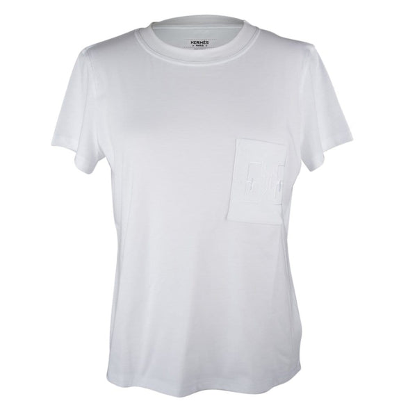 Hermes T-Shirt Women's White Embroidered Pocket 42 nwt - mightychic