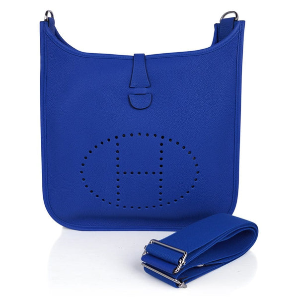 Hermes Evelyne PM Bag Blue Zellige Clemence Palladium Hardware New w/Box