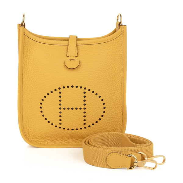 Hermes Evelyne TPM Bag Jaune Ambre Clemence Leather Gold Hardware