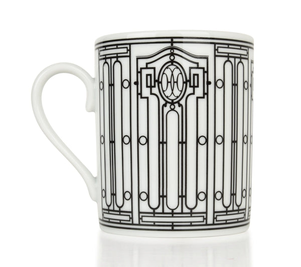 Hermes H Deco Mugs White and Black Set of 2 new