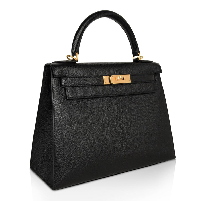 Hermes Kelly 28 Bag HSS Sellier Black Chevre Vermillion Interior Brushed Gold - mightychic