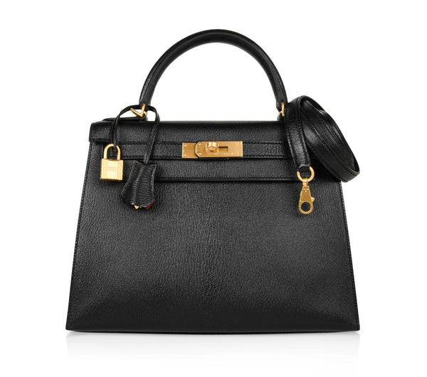 Hermes Kelly 28 Bag HSS Sellier Black Chevre Vermillion Interior Brushed Gold