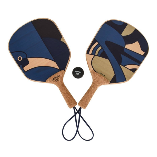 Hermes Paddle Ball Jex D'Animaux Set Blue Noir New - mightychic