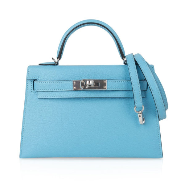 Hermes Kelly 20 Mini Sellier Rare Blue Celeste Chevre Palladium