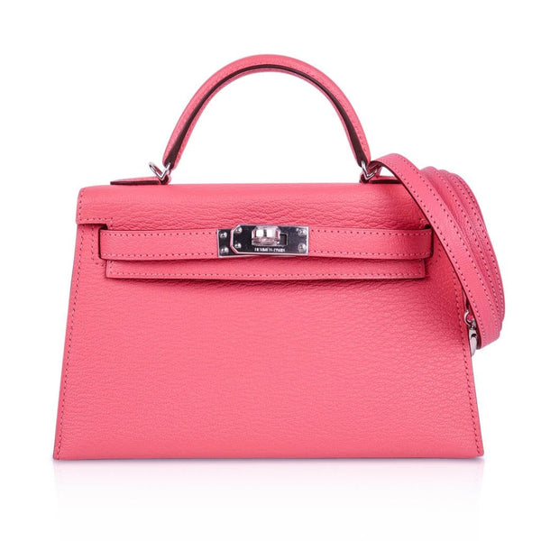 Hermes Kelly 20 Bag Sellier Rose Lipstick Chevre Leather Palladium Hardware