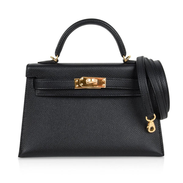 Hermes Kelly 20 Sellier Black Epsom Gold Hardware