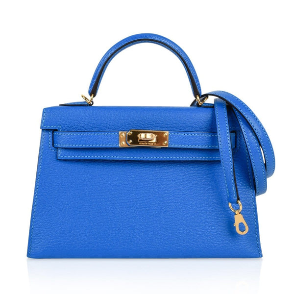 Hermes Kelly 20 Bag Sellier Blue Hydra Chevre Leather Gold Hardware