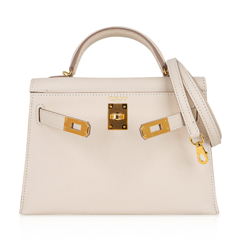 Hermes Kelly 20 Mini Sellier Bag Craie Epsom Leather Gold Hardware New w/Box