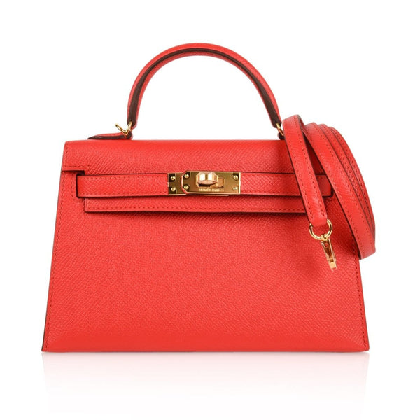 Hermes Kelly 20 Sellier Rouge Tomate Epsom Gold Hardware - mightychic