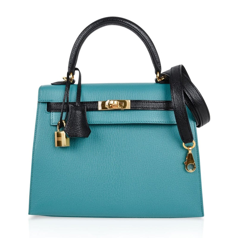 Hermes Kelly 25 Sellier Bag HSS Blue Paon / Black Chevre Mysore Gold Hardware - mightychic