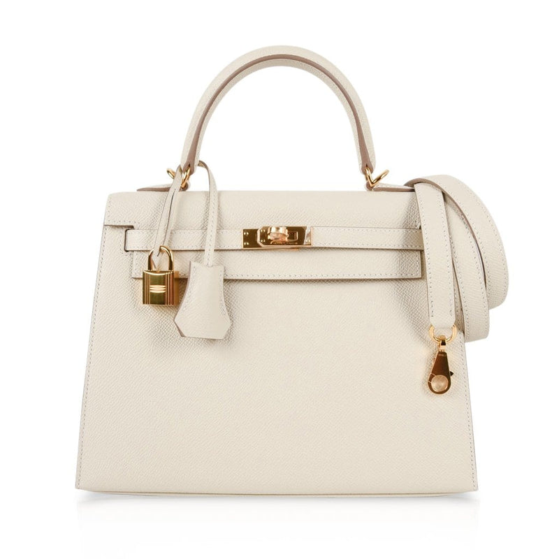 Hermes Kelly 25 Sellier Bag Neutral Craie Epsom Gold Hardware with Twilly - mightychic