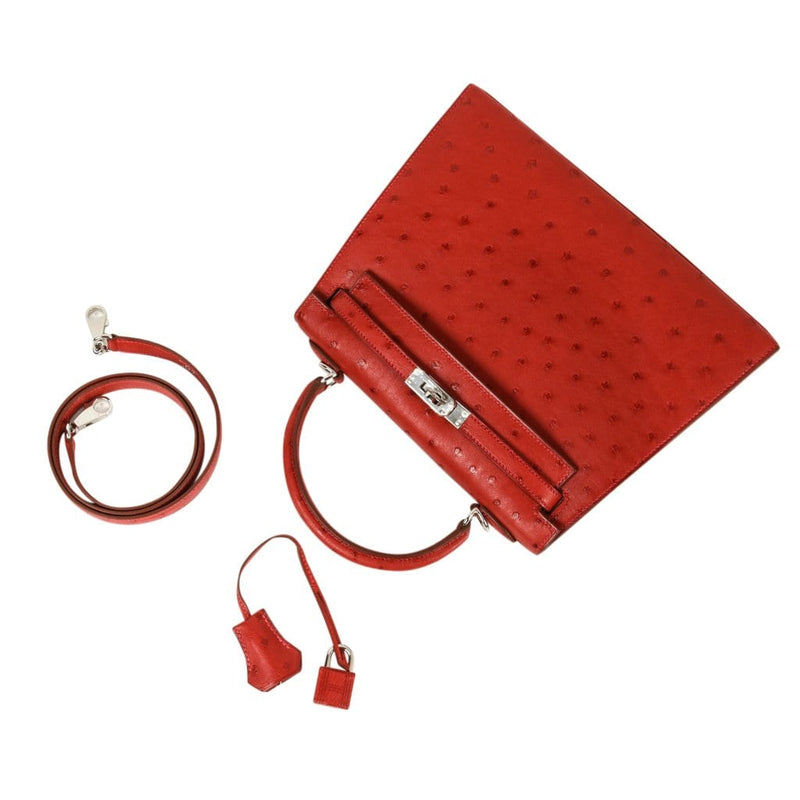 Hermes Kelly 25 Sellier Bag Ostrich Rouge Vif Pink Topstitch Palladium - mightychic