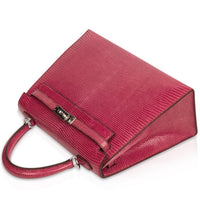 Hermes Kelly 25 Bag Sellier Fuschia Pink Lizard Palladium - mightychic
