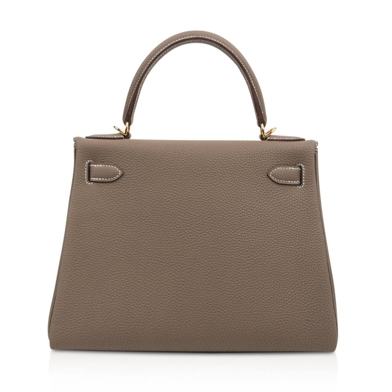 Hermes Kelly 28 Bag Etoupe Retourne Togo Gold Hardware - mightychic