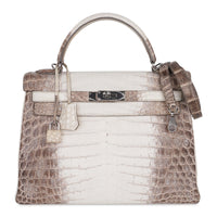 Hermes Kelly 32 Himalaya Crocodile Palladium Hardware Limited Edition Rare