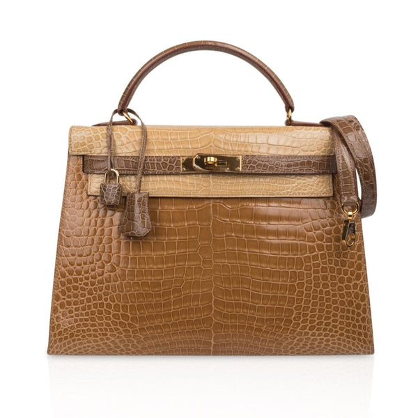 Hermes Kelly 32 Sellier Bag Tri-Colour Porosus Crocodile Poussiere Poudre Ficelle