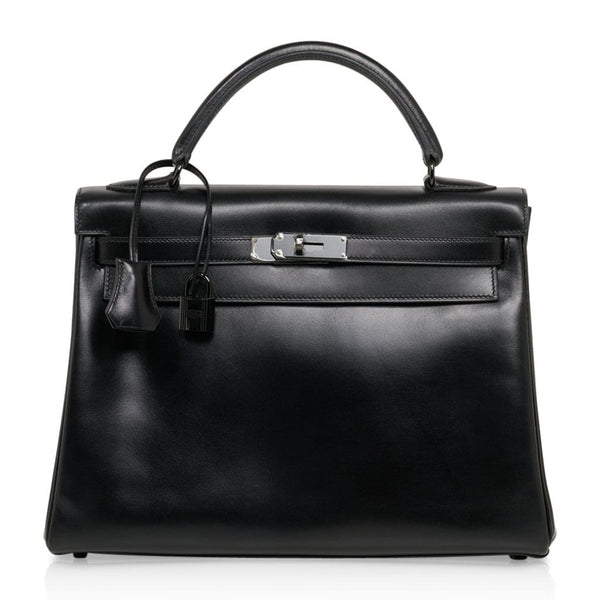 Hermes Kelly 32 So Black Bag Box Leather Limited Edition
