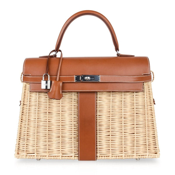 Hermes Picnic Kelly Bag 35 Wicker / Osier Palladium Hardware - mightychic