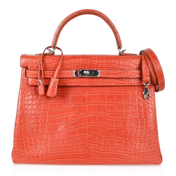 Hermes Kelly 35 Bag Retourne Matte Alligator Sanguine Palladium - mightychic