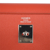 Hermes Kelly 35 Flag Bag Limited Edition Flamingo and Coral Rare - mightychic