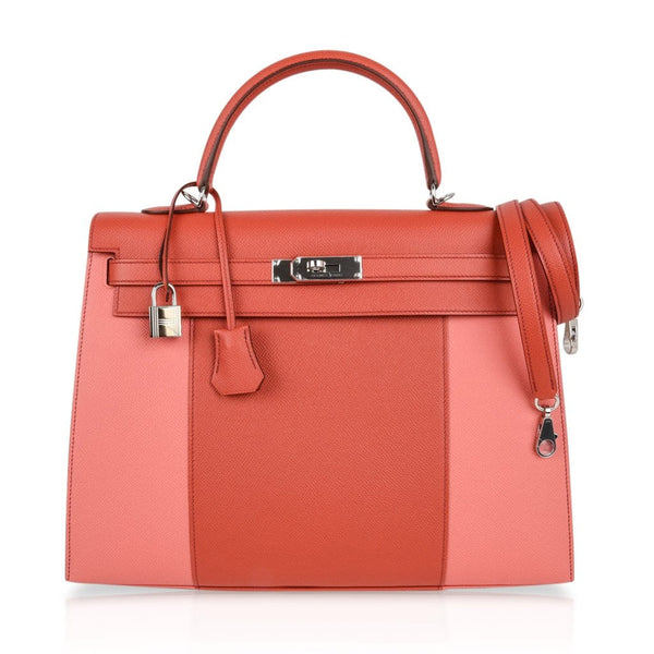 Hermes Kelly 35 Flag Bag Limited Edition Flamingo and Coral Rare