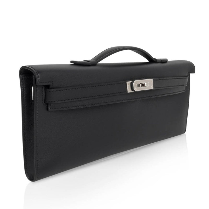 Hermes Kelly Cut Clutch Bag Black Swift Palladium Hardware - mightychic