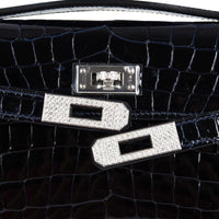 Hermes Kelly Cut Diamond Blue Marine Crocodile Bag Exquisite Clutch - mightychic