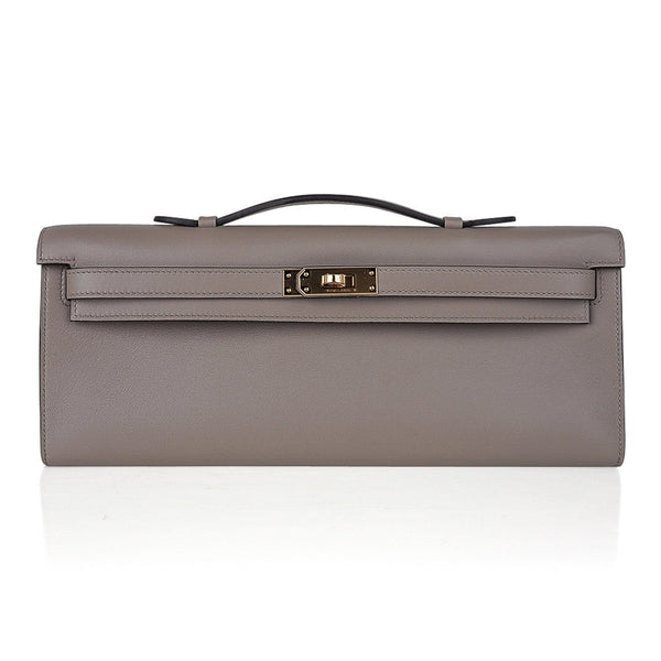 Hermes Kelly Cut Bag Gris Asphalte Gray Clutch Swift Gold Hardware