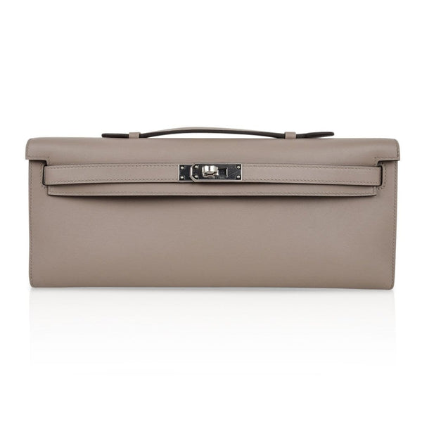 Hermes Kelly Cut bag Gris Asphalte Gray Clutch Swift  Palladium