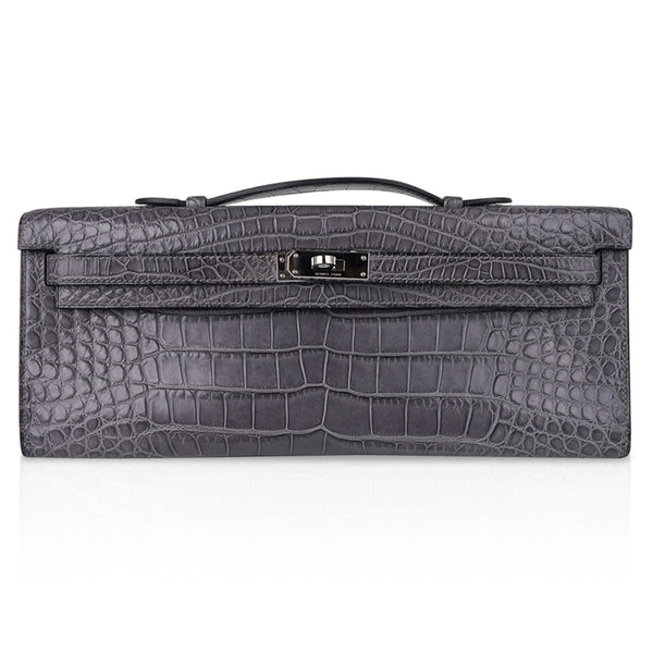 Hermes Kelly Cut Bag Gris Paris Grey Matte Alligator Palladium VERY rare