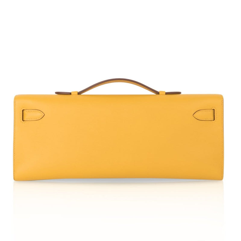 Hermes Kelly Cut Bag Jaune Ambre Clutch Swift Gold Hardware New - mightychic