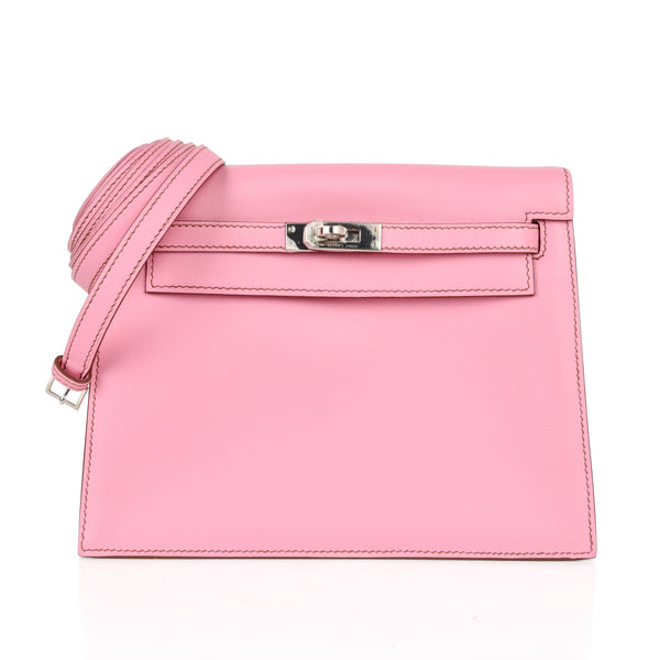 Hermes Kelly Danse Bag 5P Pink Swift Palladium - mightychic