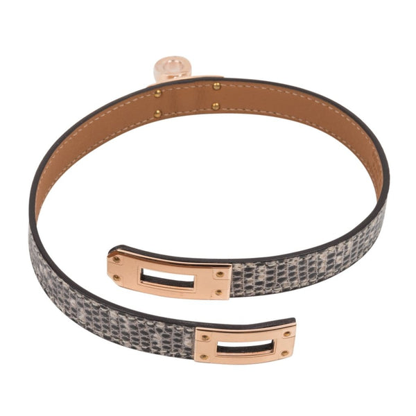 79a375e2d9e7 ... Hermes Kelly Double Tour Bracelet Ombre Lizard Rose Gold Hardware -  mightychic ...