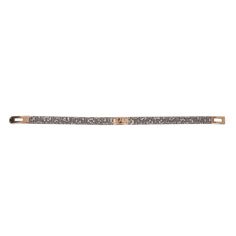 Hermes Kelly Double Tour Bracelet Ombre Lizard Rose Gold Hardware - mightychic