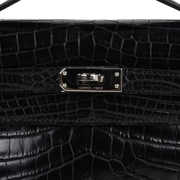 8e51e800f0b ... Hermes Kelly Pochette Bag Matte Black Crocodile Clutch Palladium -  mightychic ...