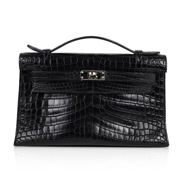 Hermes Kelly Pochette Bag Matte Black Crocodile Clutch Palladium - mightychic