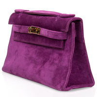 Hermes Kelly Pochette Suede Violet Purple Clutch Bag Gold - mightychic