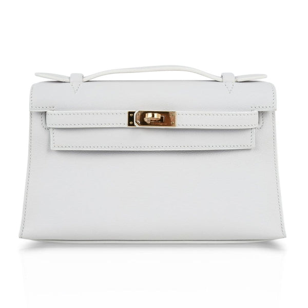 Hermes Kelly Pochette Clutch Bag Very Rare White Gold Hardware - mightychic