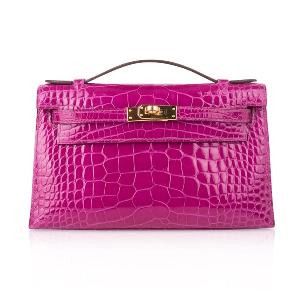 Hermes Kelly Pochette Clutch Bag Rose Scheherazade Pink Alligator Gold Hardware
