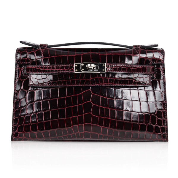 Hermes Kelly Pochette Clutch Bag Bordeaux Crocodile Jewel Toned Palladium - mightychic